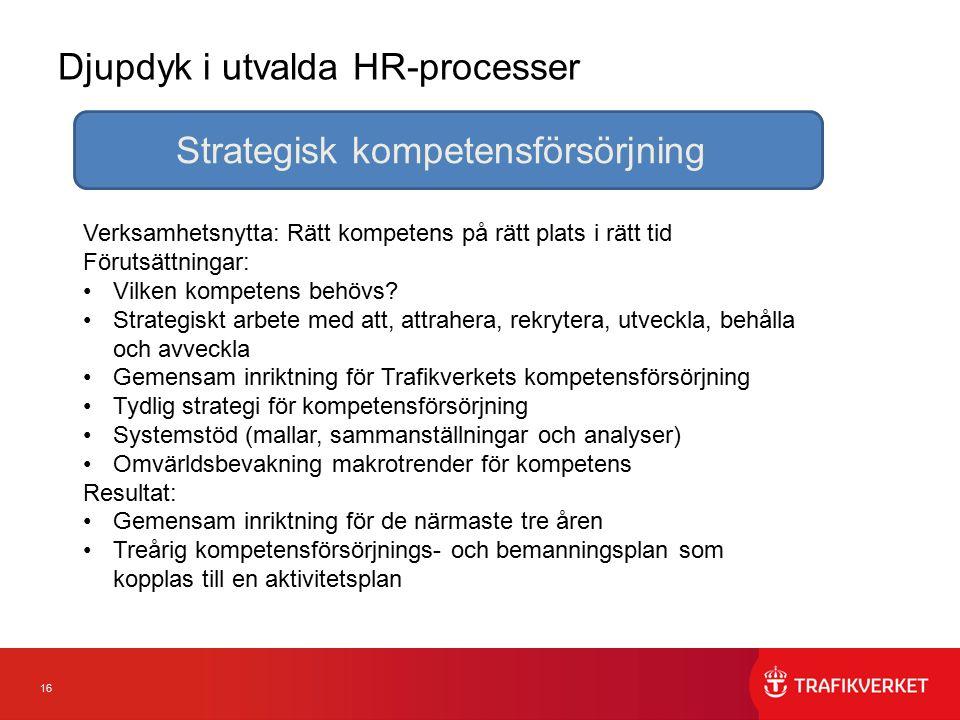 16 Djupdyk i utvalda HR-processer Strategisk kompetensförsörjning Verksamhetsnytta: Rätt kompetens på rätt plats i rätt tid Förutsättningar: Vilken ko
