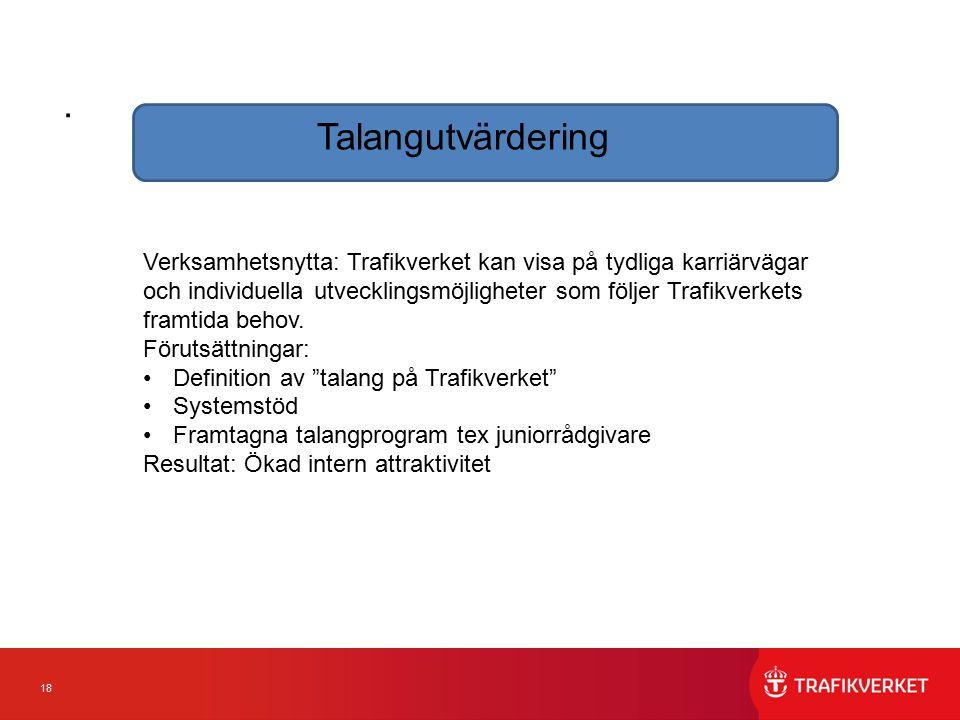 18. Talangutvärdering Verksamhetsnytta: Trafikverket kan visa på tydliga karriärvägar och individuella utvecklingsmöjligheter som följer Trafikverkets
