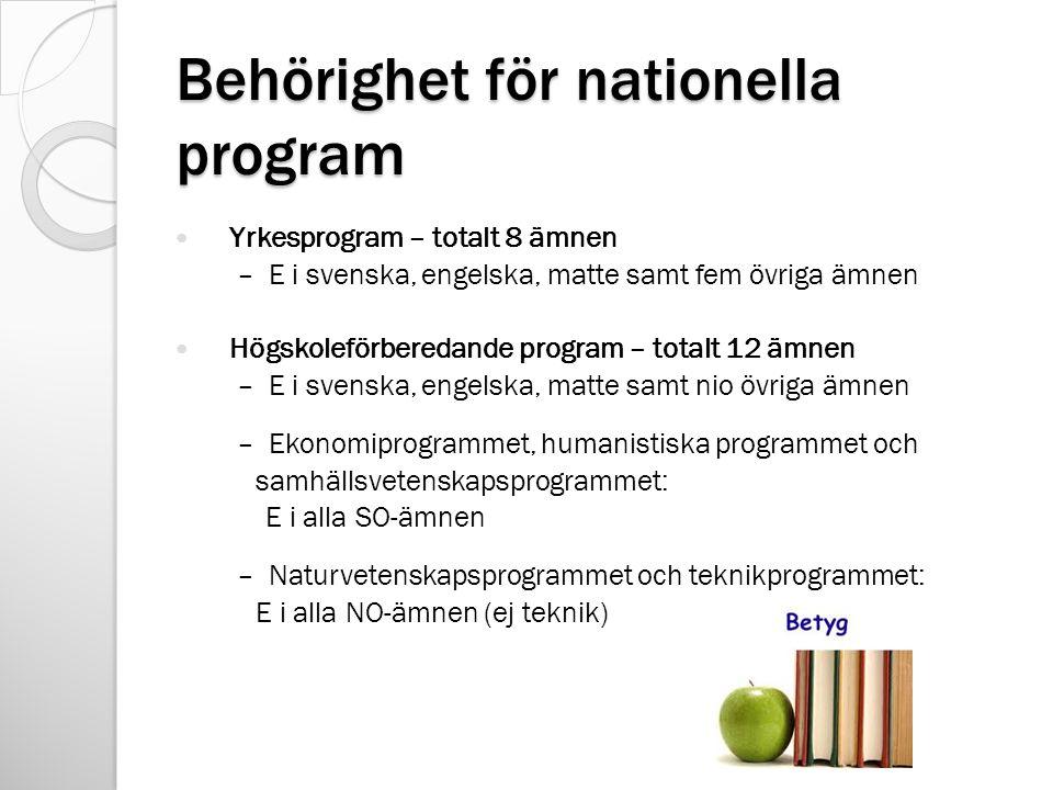 Behörighet för nationella program Yrkesprogram – totalt 8 ämnen – E i svenska, engelska, matte samt fem övriga ämnen Högskoleförberedande program – totalt 12 ämnen – E i svenska, engelska, matte samt nio övriga ämnen – Ekonomiprogrammet, humanistiska programmet och samhällsvetenskapsprogrammet: E i alla SO-ämnen – Naturvetenskapsprogrammet och teknikprogrammet: E i alla NO-ämnen (ej teknik)