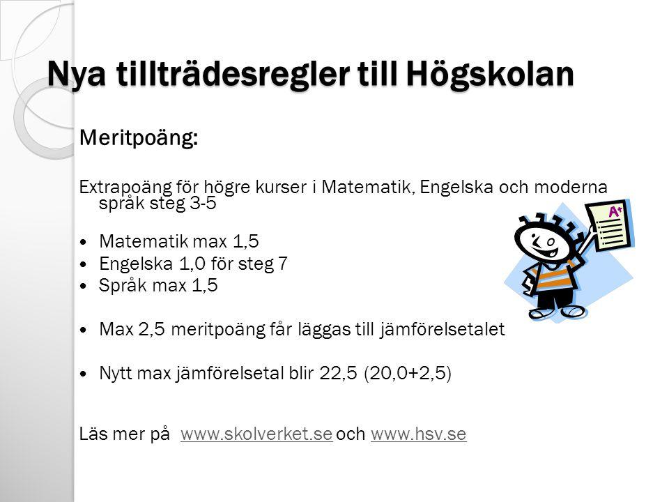 Nya tillträdesregler till Högskolan Meritpoäng: Extrapoäng för högre kurser i Matematik, Engelska och moderna språk steg 3-5 Matematik max 1,5 Engelska 1,0 för steg 7 Språk max 1,5 Max 2,5 meritpoäng får läggas till jämförelsetalet Nytt max jämförelsetal blir 22,5 (20,0+2,5) Läs mer på www.skolverket.se och www.hsv.sewww.skolverket.se