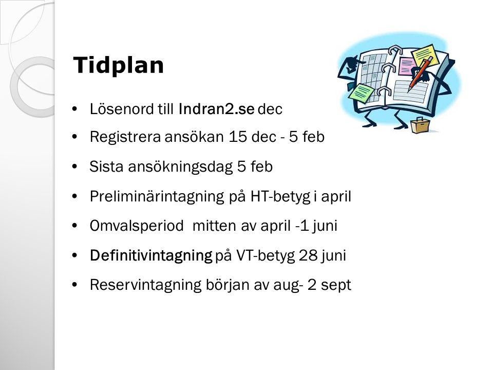 Lösenord till Indran2.se dec Registrera ansökan 15 dec - 5 feb Sista ansökningsdag 5 feb Preliminärintagning på HT-betyg i april Omvalsperiod mitten av april -1 juni Definitivintagning på VT-betyg 28 juni Reservintagning början av aug- 2 sept Tidplan