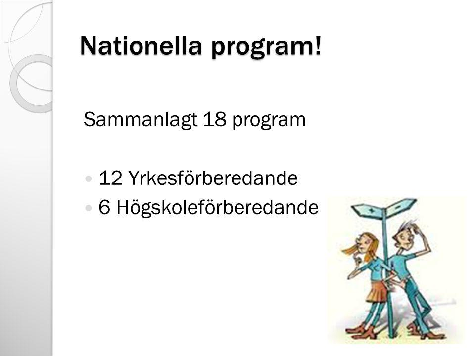 Nationella program! Sammanlagt 18 program 12 Yrkesförberedande 6 Högskoleförberedande