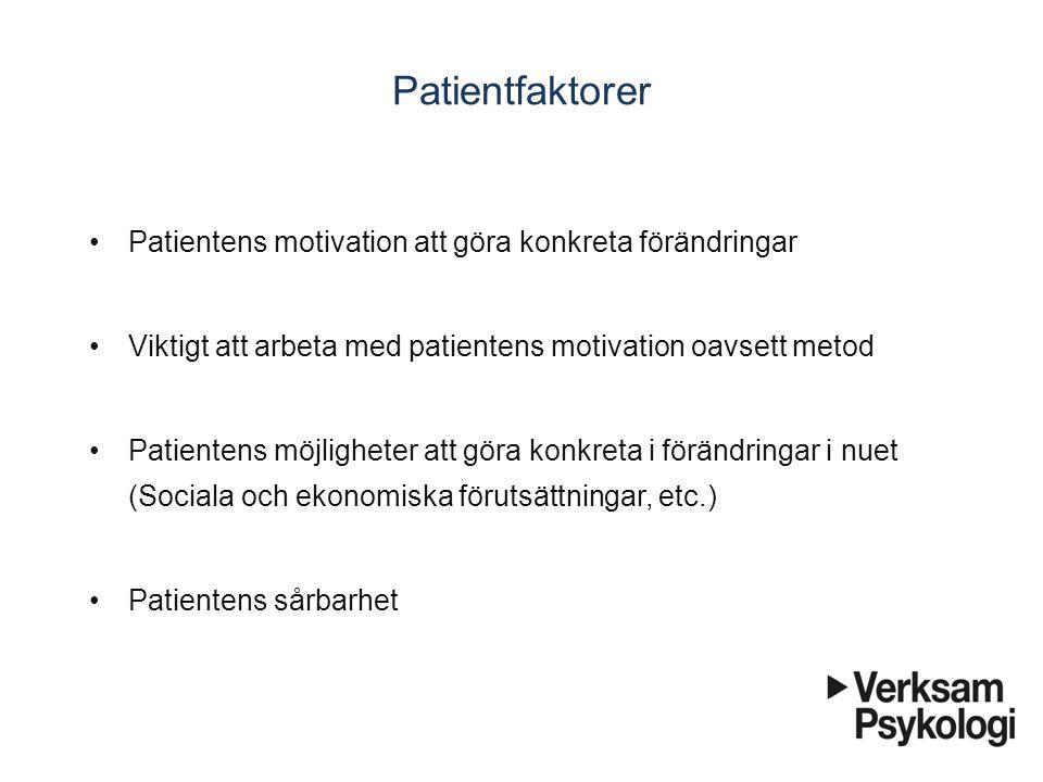 Patientfaktorer Patientens motivation att göra konkreta förändringar Viktigt att arbeta med patientens motivation oavsett metod Patientens möjligheter