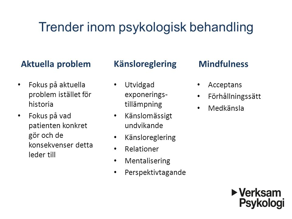Trender inom psykologisk behandling Aktuella problem Fokus på aktuella problem istället för historia Fokus på vad patienten konkret gör och de konsekv