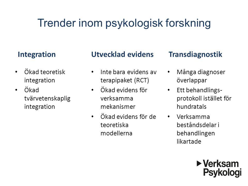 Trender inom psykologisk forskning Integration Ökad teoretisk integration Ökad tvärvetenskaplig integration Transdiagnostik Inte bara evidens av terap