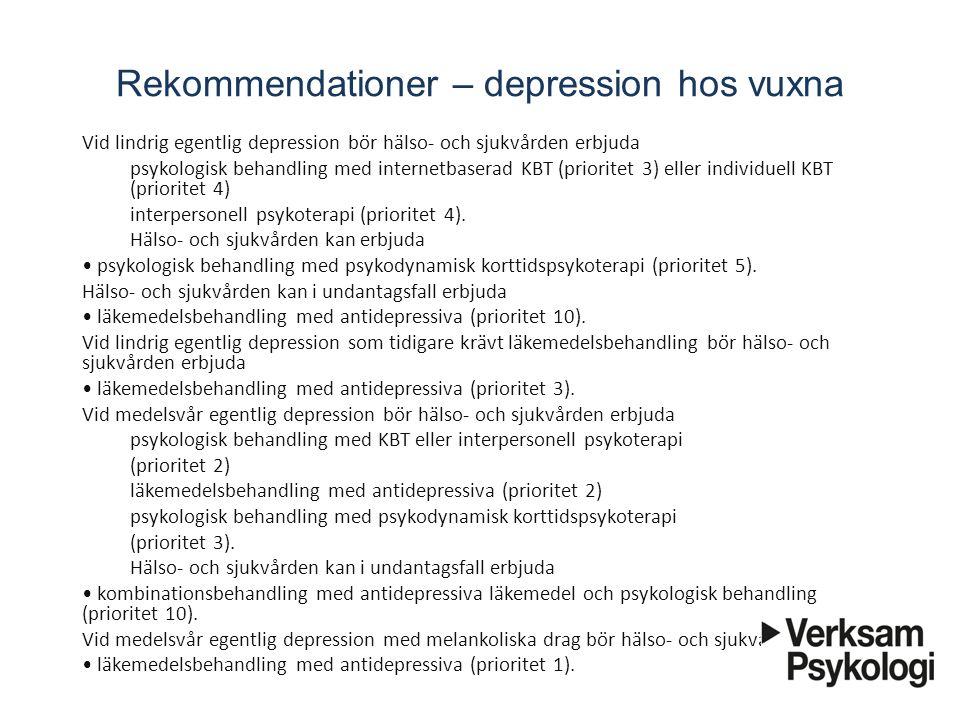 Rekommendationer – depression hos vuxna Vid lindrig egentlig depression bör hälso- och sjukvården erbjuda psykologisk behandling med internetbasera