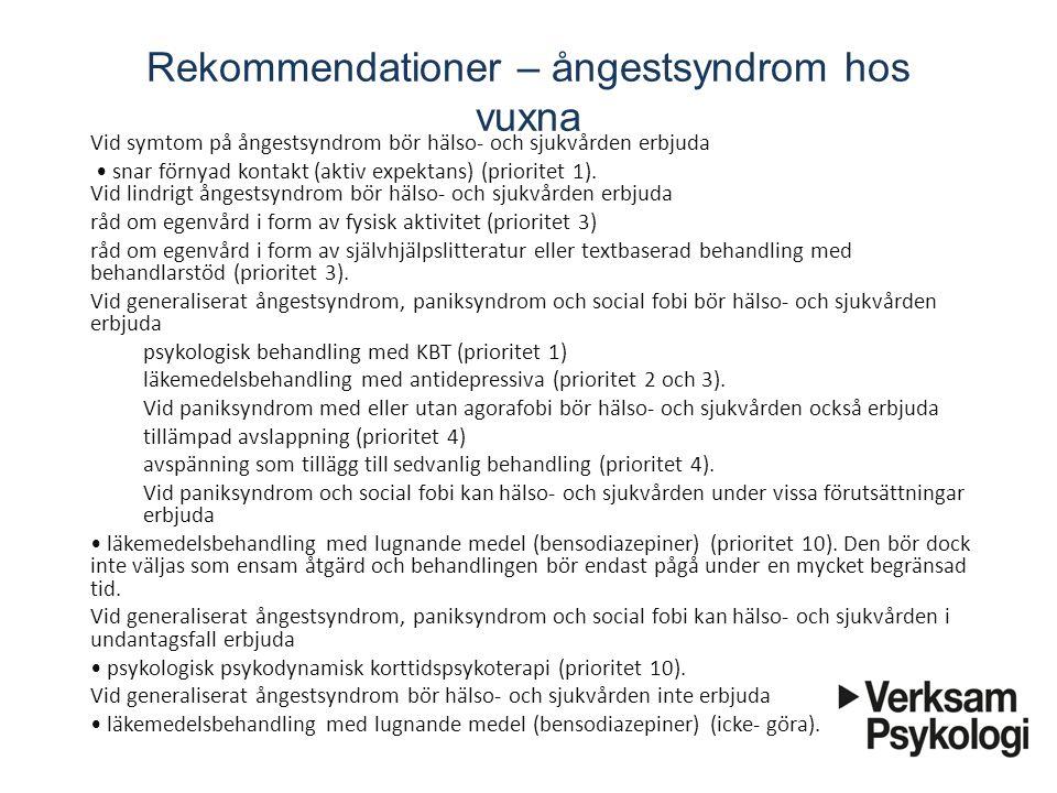 Rekommendationer – ångestsyndrom hos vuxna Vid symtom på ångestsyndrom bör hälso- och sjukvården erbjuda snar förnyad kontakt (aktiv expektans)