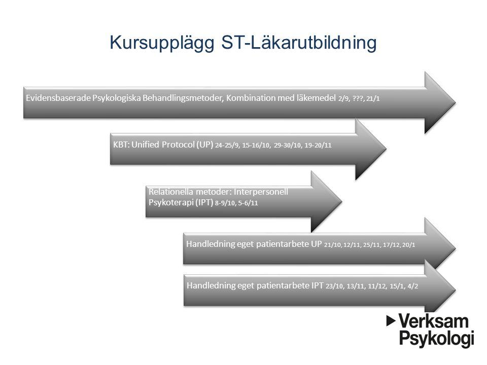 Kursupplägg ST-Läkarutbildning Evidensbaserade Psykologiska Behandlingsmetoder, Kombination med läkemedel 2/9, ???, 21/1 KBT: Unified Protocol (UP) 24