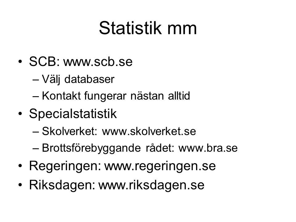 Statistik mm SCB: www.scb.se –Välj databaser –Kontakt fungerar nästan alltid Specialstatistik –Skolverket: www.skolverket.se –Brottsförebyggande rådet: www.bra.se Regeringen: www.regeringen.se Riksdagen: www.riksdagen.se