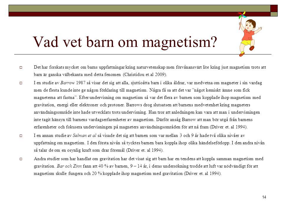 14 Vad vet barn om magnetism.