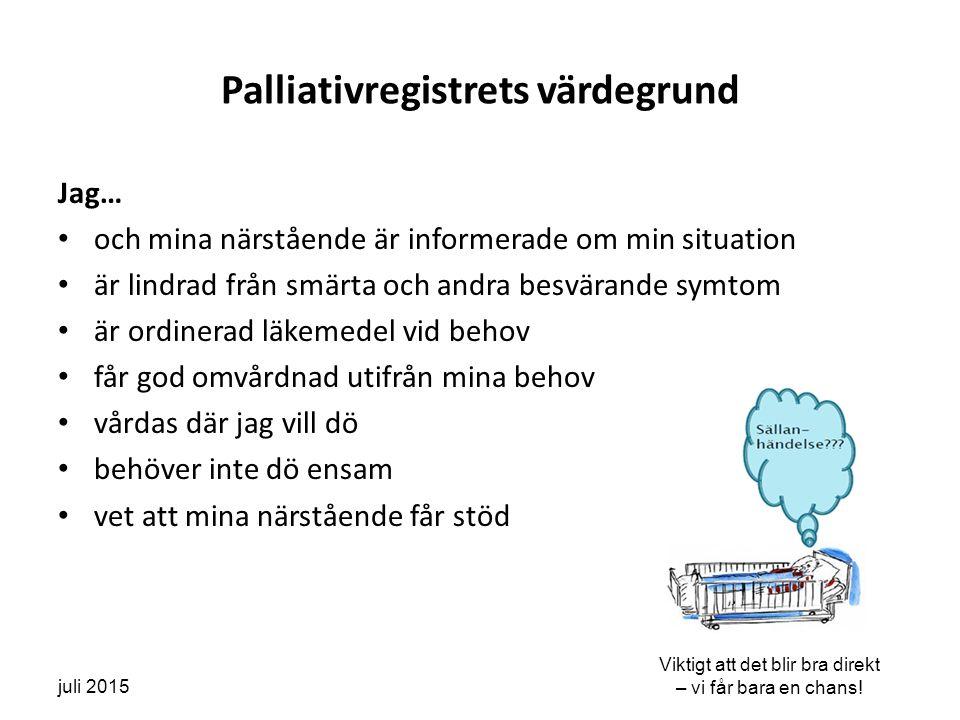 Utvecklingstrenden för Socialstyrelsens kvalitetsindikatorer för VGR specialiserad palliativ vård Ett förbättrat resultat över tid ses för munhälsa, brytpunktssamtal, smärtskattning och annan symtomskattning.