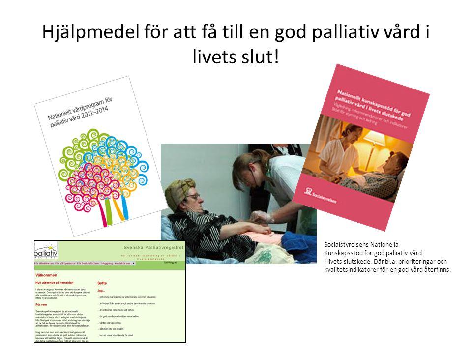 Utvecklingstrenden för Socialstyrelsens kvalitetsindikatorer för VGR specialiserad palliativ vård Ett skakigt förbättrat resultat över tid ses för munhälsa, brytpunktssamtal, smärtskattning och annan symtomskattning.