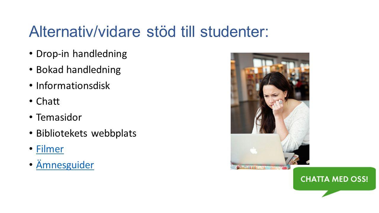 Alternativ/vidare stöd till studenter: Drop-in handledning Bokad handledning Informationsdisk Chatt Temasidor Bibliotekets webbplats Filmer Ämnesguide