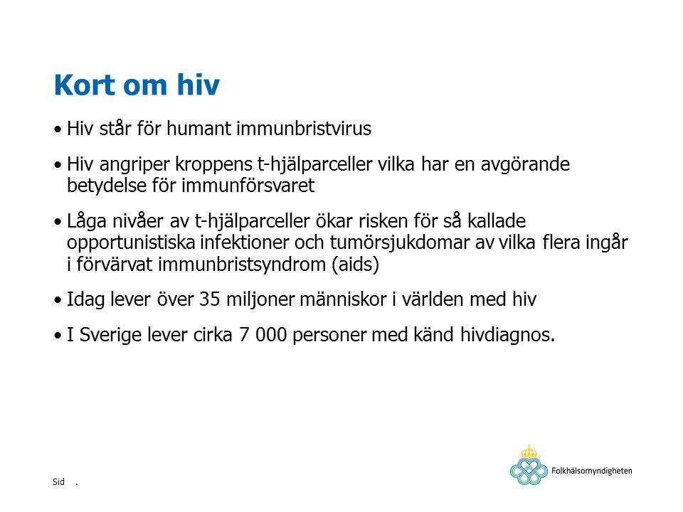 . Sid Hivvården i Sverige Testning för hiv och eventuell behandling är kostnadsfri för patienten Endast den vård som är relaterad till hivinfektionen sker på infektionsmottagning Behandlande läkare ger individuella förhållningsregler enligt Smittskyddslagen och följer upp dessa med patienten Patienten är skyldig att informera om sin hivinfektion i kontakt med hälso- och sjukvård samt tandvård.