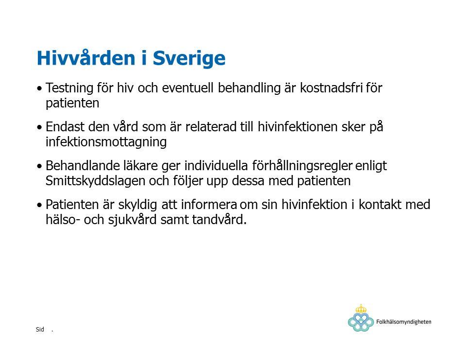 . Sid Hivvården i Sverige Testning för hiv och eventuell behandling är kostnadsfri för patienten Endast den vård som är relaterad till hivinfektionen