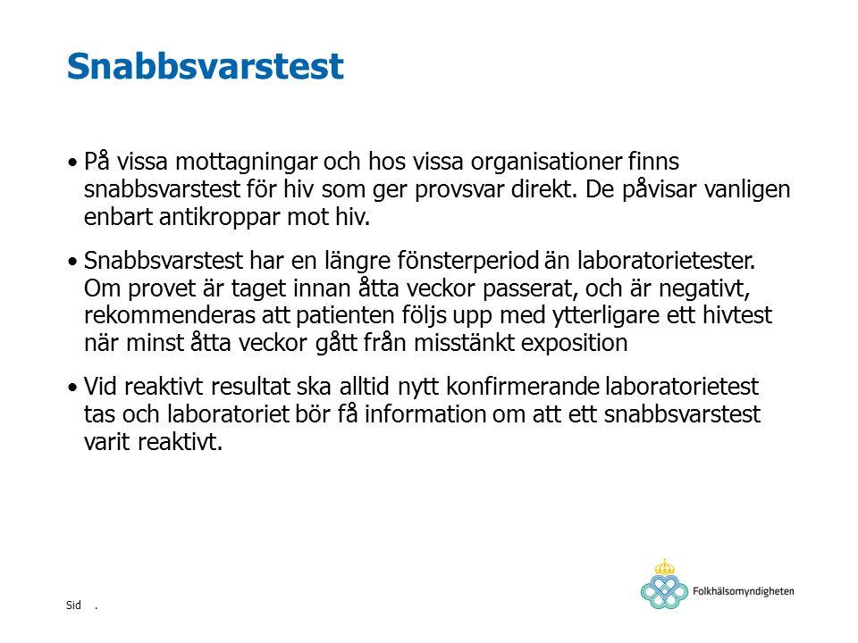 . Sid Snabbsvarstest På vissa mottagningar och hos vissa organisationer finns snabbsvarstest för hiv som ger provsvar direkt. De påvisar vanligen enba