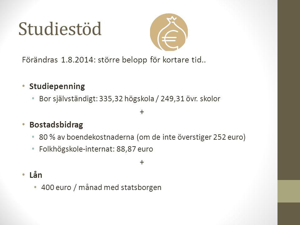 Studiestöd Förändras 1.8.2014: större belopp för kortare tid.. Studiepenning Bor självständigt: 335,32 högskola / 249,31 övr. skolor + Bostadsbidrag 8
