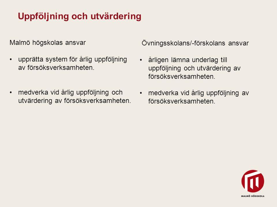 2010 05 04 Malmö högskolas ansvar upprätta system för årlig uppföljning av försöksverksamheten. medverka vid årlig uppföljning och utvärdering av förs