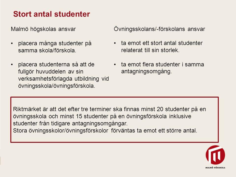 2010 05 04 Malmö högskolas ansvar placera många studenter på samma skola/förskola. placera studenterna så att de fullgör huvuddelen av sin verksamhets