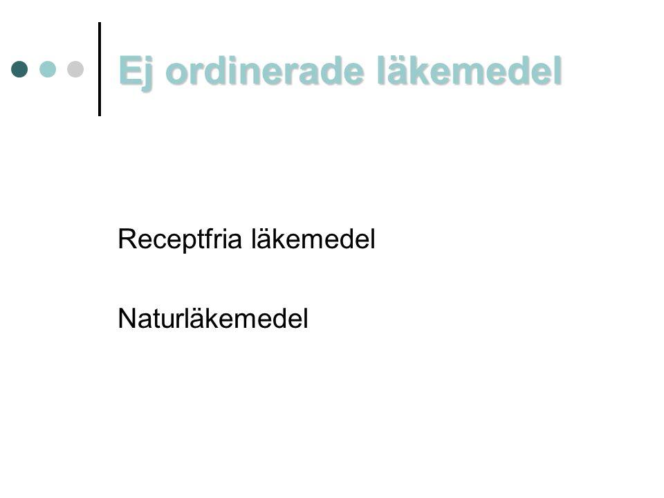 Ej ordinerade läkemedel Receptfria läkemedel Naturläkemedel