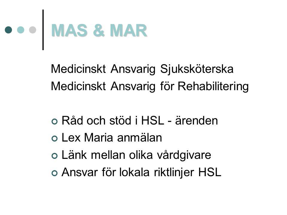 MAS & MAR Medicinskt Ansvarig Sjuksköterska Medicinskt Ansvarig för Rehabilitering Råd och stöd i HSL - ärenden Lex Maria anmälan Länk mellan olika vå