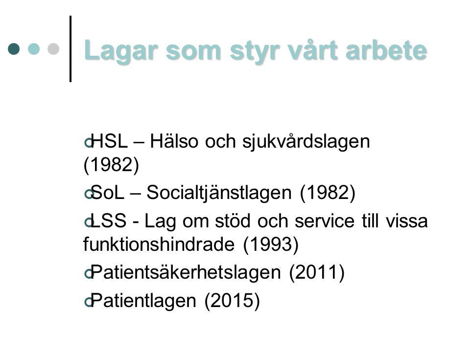 Lagar som styr vårt arbete HSL – Hälso och sjukvårdslagen (1982) SoL – Socialtjänstlagen (1982) LSS - Lag om stöd och service till vissa funktionshind