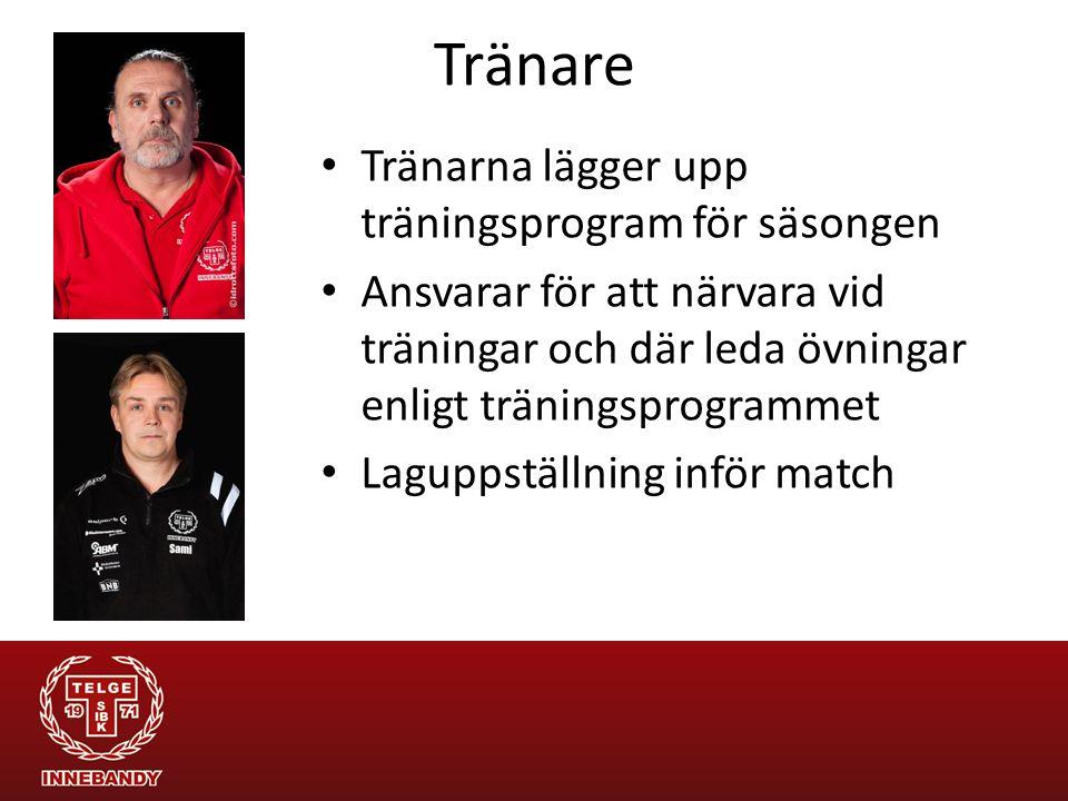 Tränare Tränarna lägger upp träningsprogram för säsongen Ansvarar för att närvara vid träningar och där leda övningar enligt träningsprogrammet Laguppställning inför match