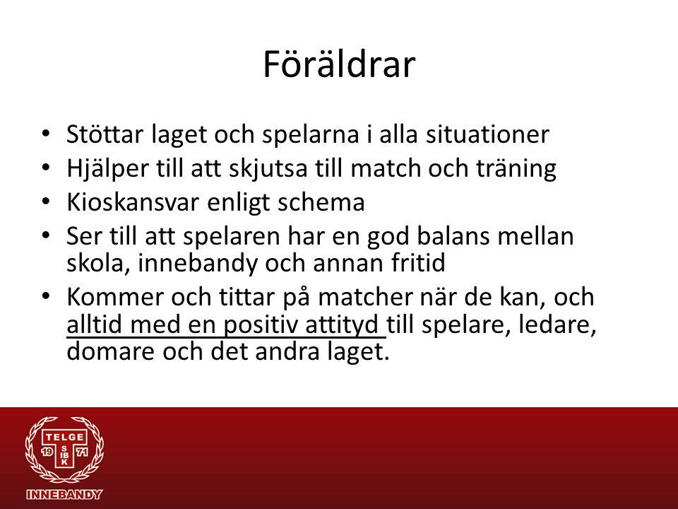 Föräldrar Stöttar laget och spelarna i alla situationer Hjälper till att skjutsa till match och träning Kioskansvar enligt schema Ser till att spelare