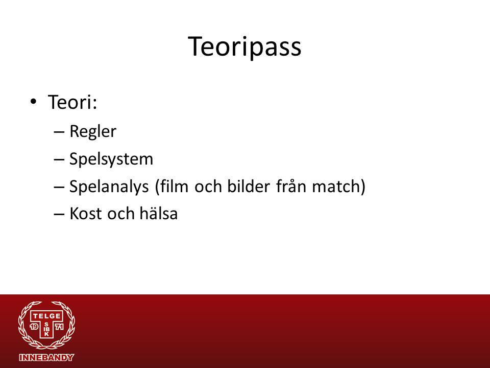 Teoripass Teori: – Regler – Spelsystem – Spelanalys (film och bilder från match) – Kost och hälsa