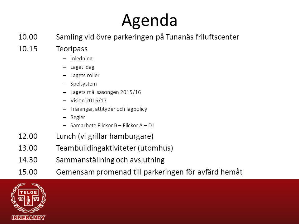 Agenda 10.00Samling vid övre parkeringen på Tunanäs friluftscenter 10.15Teoripass – Inledning – Laget idag – Lagets roller – Spelsystem – Lagets mål s