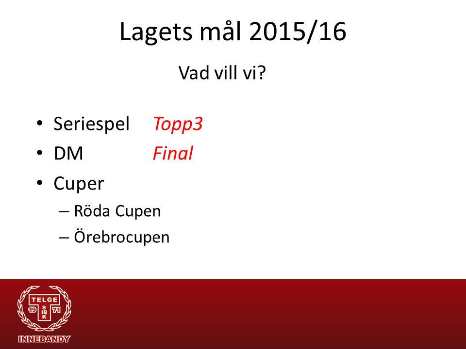 Lagets mål 2015/16 Seriespel Topp3 DM Final Cuper – Röda Cupen – Örebrocupen Vad vill vi?