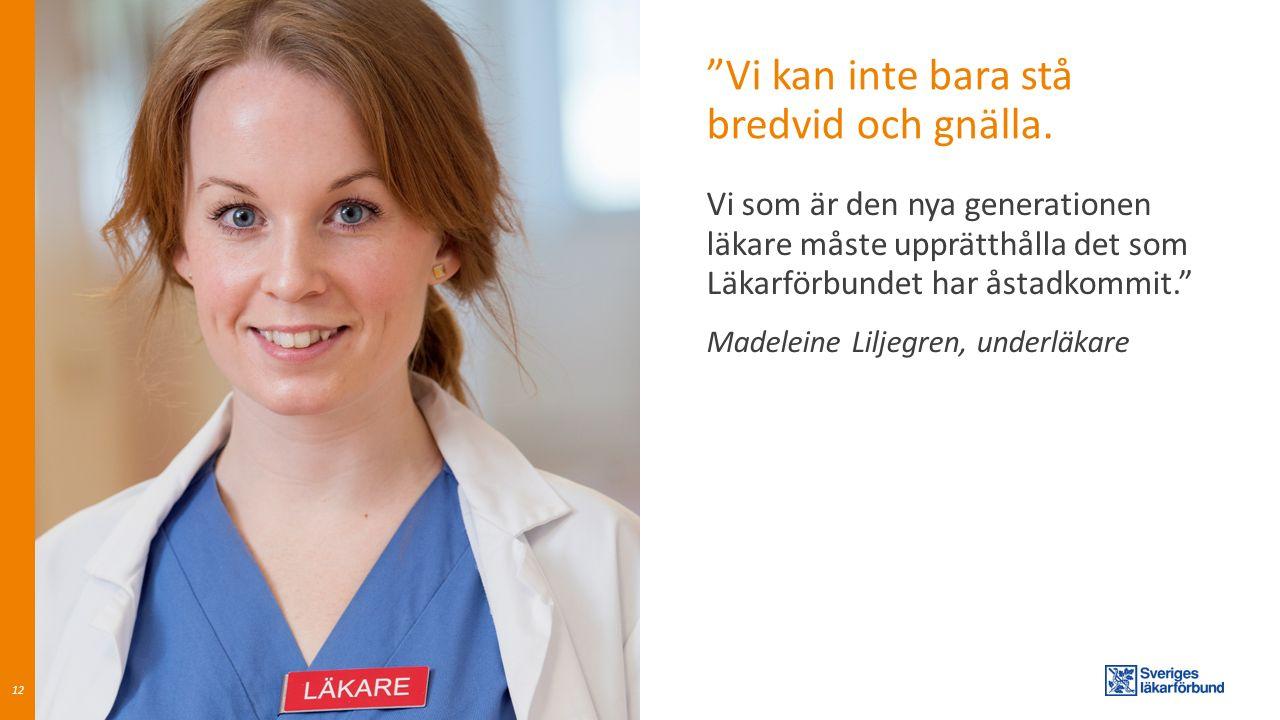 """""""Vi kan inte bara stå bredvid och gnälla. 12 Vi som är den nya generationen läkare måste upprätthålla det som Läkarförbundet har åstadkommit."""" Madelei"""