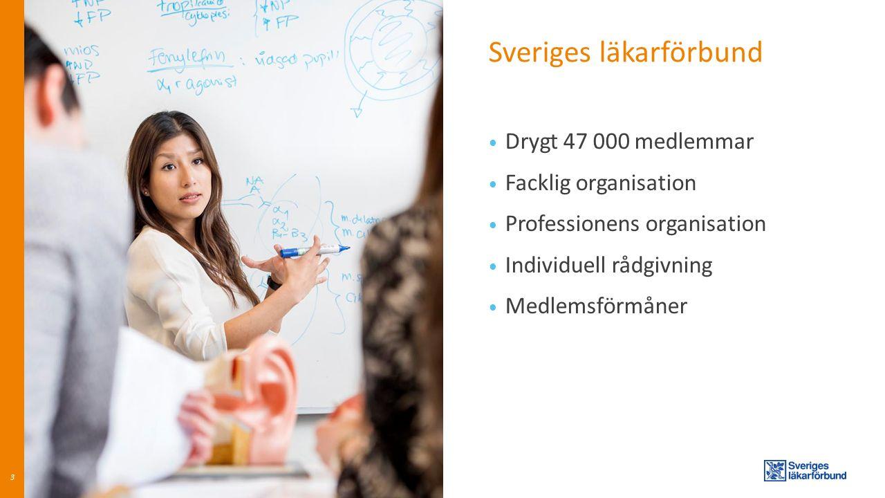 Sveriges läkarförbund 3 Drygt 47 000 medlemmar Facklig organisation Professionens organisation Individuell rådgivning Medlemsförmåner