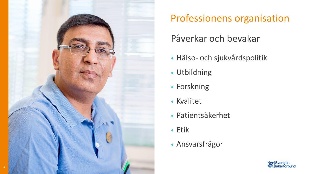 Professionens organisation Hälso- och sjukvårdspolitik Utbildning Forskning Kvalitet Patientsäkerhet Etik Ansvarsfrågor 5 Påverkar och bevakar