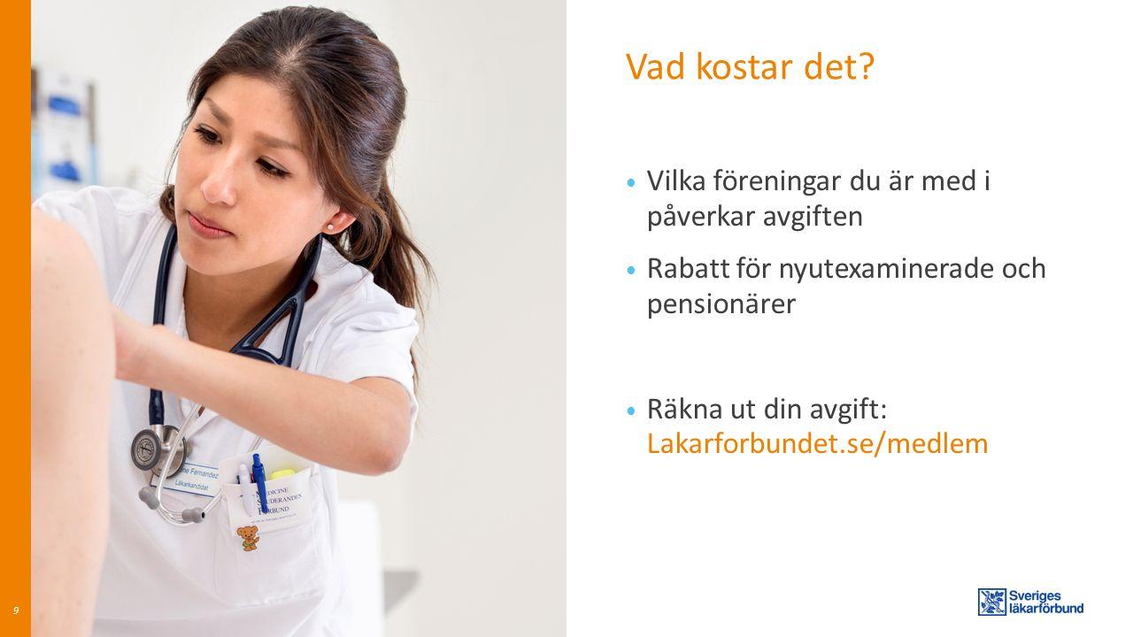 Vad kostar det? Vilka föreningar du är med i påverkar avgiften Rabatt för nyutexaminerade och pensionärer Räkna ut din avgift: Lakarforbundet.se/medle