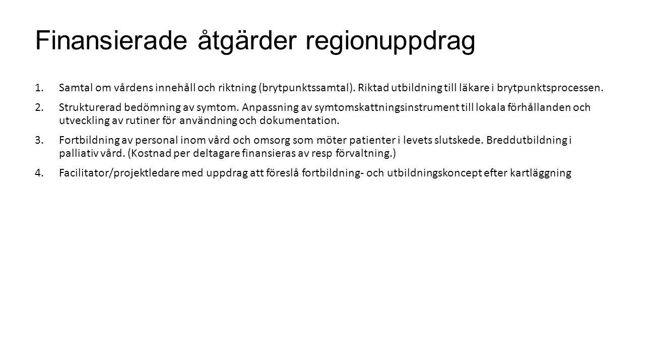 Finansierade åtgärder regionuppdrag 1.Samtal om vårdens innehåll och riktning (brytpunktssamtal). Riktad utbildning till läkare i brytpunktsprocessen.