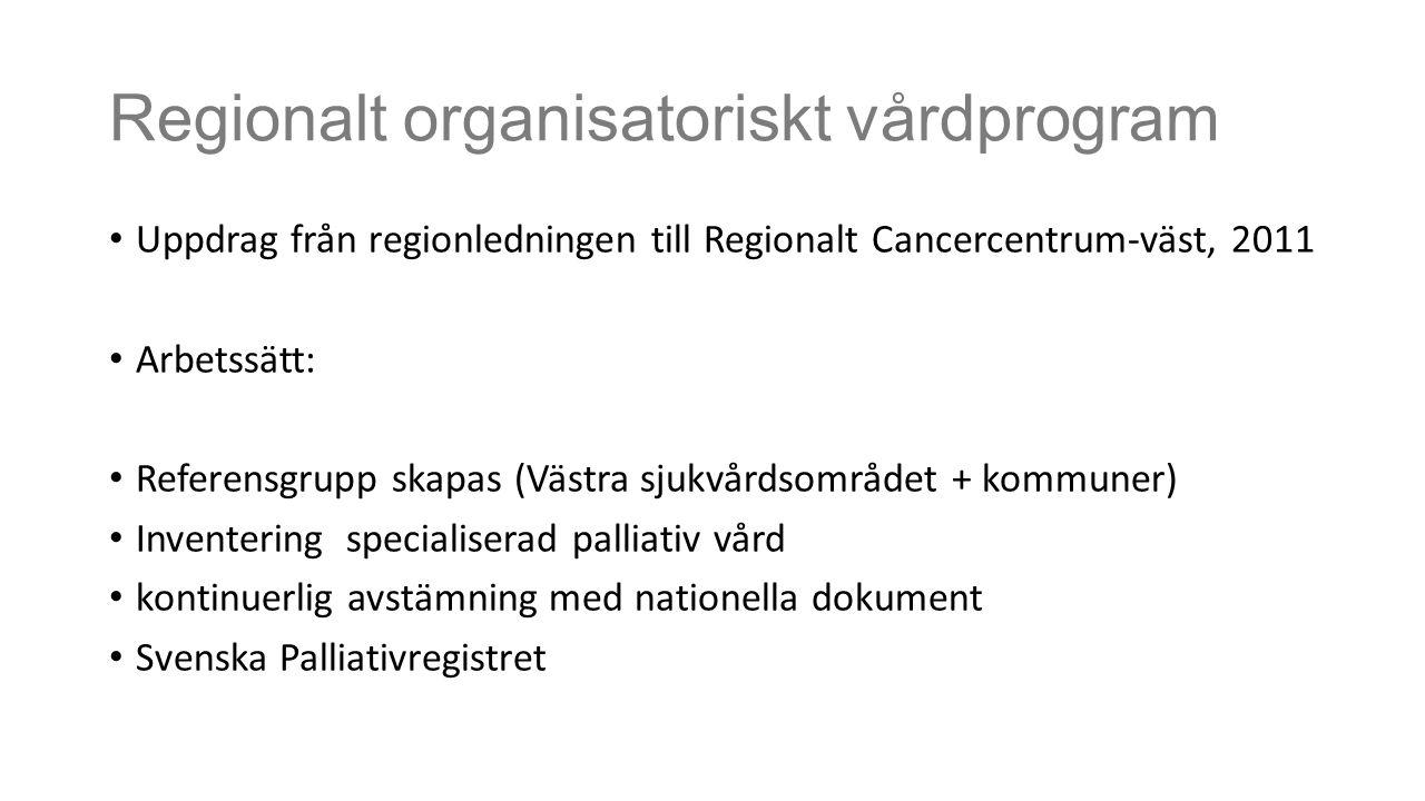 Regionalt organisatoriskt vårdprogram Uppdrag från regionledningen till Regionalt Cancercentrum-väst, 2011 Arbetssätt: Referensgrupp skapas (Västra sj