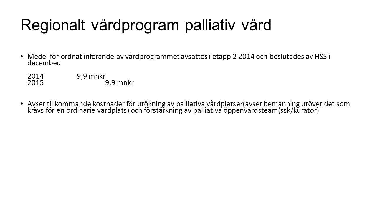 Regionalt vårdprogram palliativ vård Medel för ordnat införande av vårdprogrammet avsattes i etapp 2 2014 och beslutades av HSS i december. 2014 9,9 m