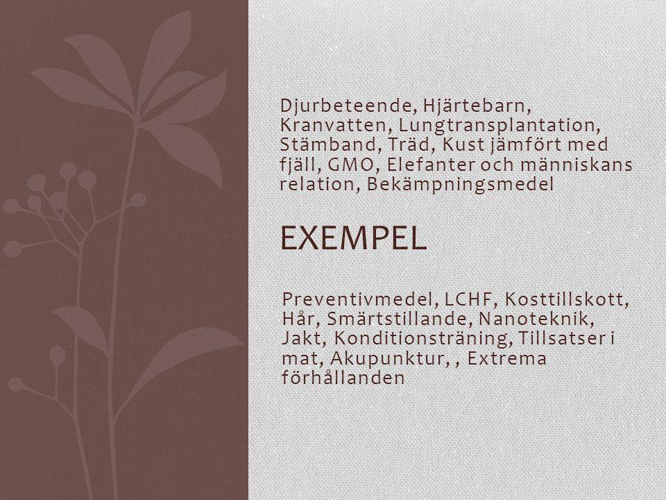 Djurbeteende, Hjärtebarn, Kranvatten, Lungtransplantation, Stämband, Träd, Kust jämfört med fjäll, GMO, Elefanter och människans relation, Bekämpningsmedel EXEMPEL Preventivmedel, LCHF, Kosttillskott, Hår, Smärtstillande, Nanoteknik, Jakt, Konditionsträning, Tillsatser i mat, Akupunktur,, Extrema förhållanden
