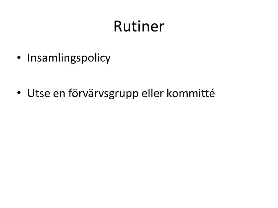 Rutiner Insamlingspolicy Utse en förvärvsgrupp eller kommitté