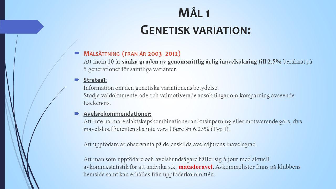 M ÅL 1 G ENETISK VARIATION :  M ÅLSÄTTNING ( FRÅN ÅR 2003- 2012) Att inom 10 år sänka graden av genomsnittlig årlig inavelsökning till 2,5% beräknat på 5 generationer för samtliga varianter.