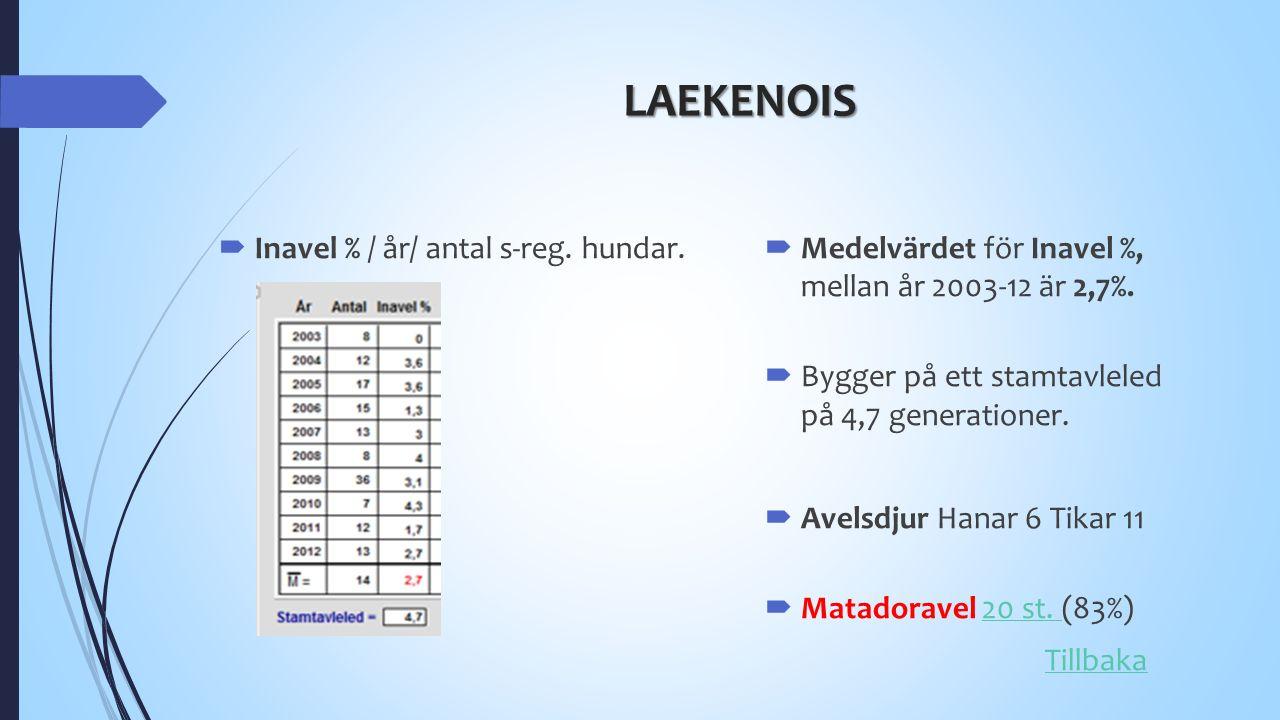 LAEKENOIS  Inavel % / år/ antal s-reg. hundar.