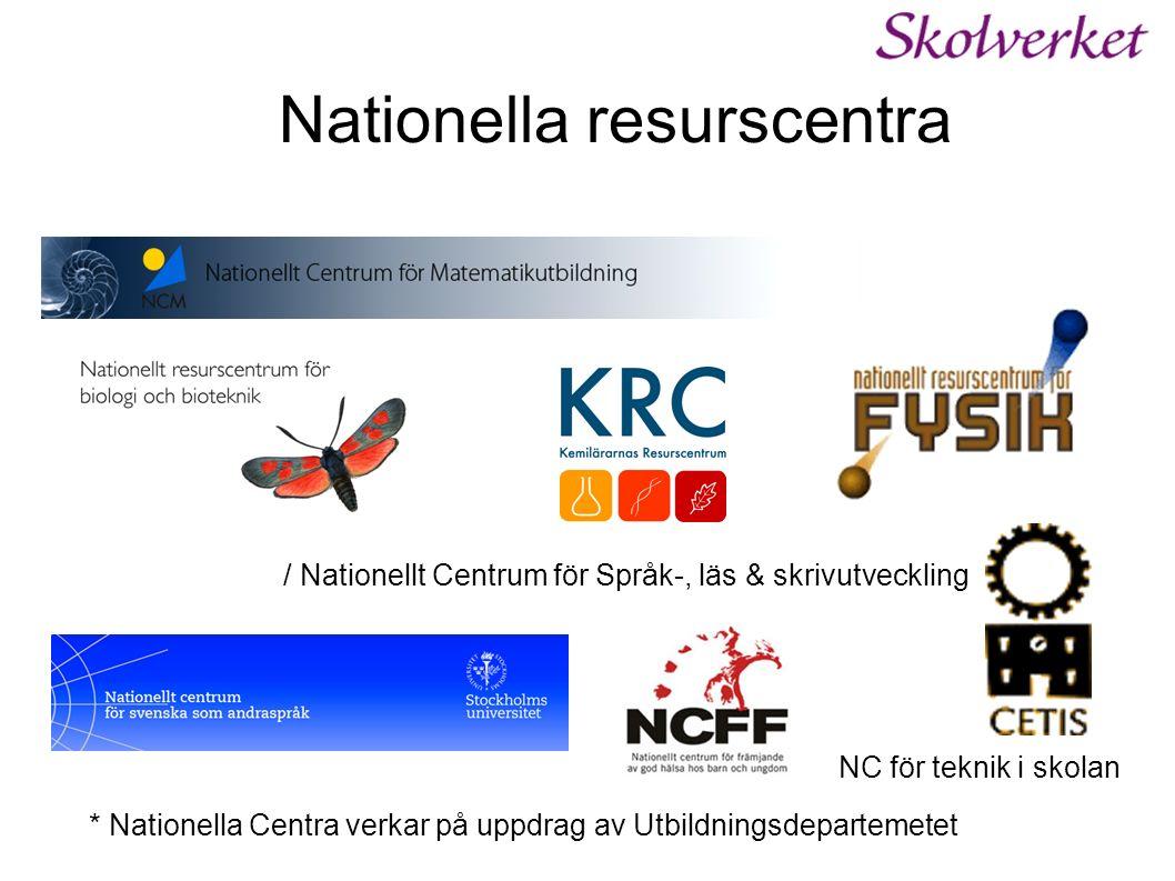 Nationella resurscentra / Nationellt Centrum för Språk-, läs & skrivutveckling * Nationella Centra verkar på uppdrag av Utbildningsdepartemetet NC för teknik i skolan