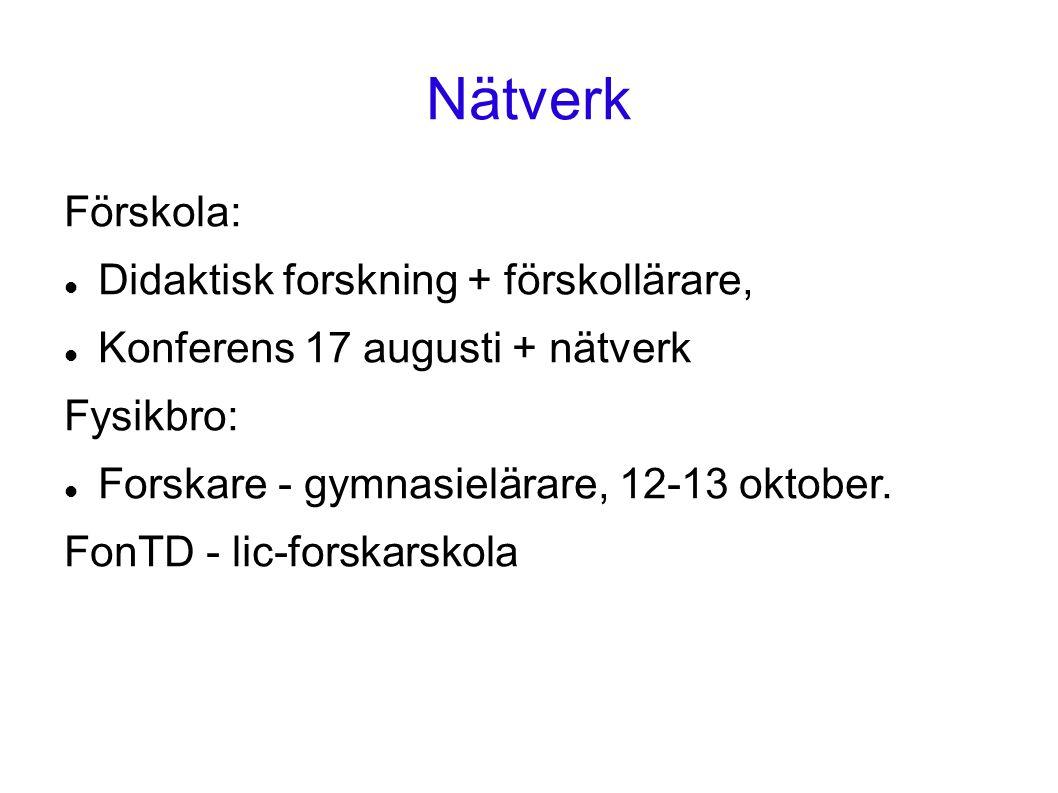Nätverk Förskola: Didaktisk forskning + förskollärare, Konferens 17 augusti + nätverk Fysikbro: Forskare - gymnasielärare, 12-13 oktober.