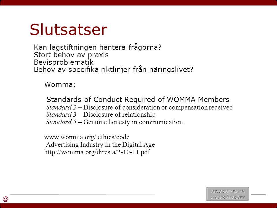 @ Slutsatser Kan lagstiftningen hantera frågorna.