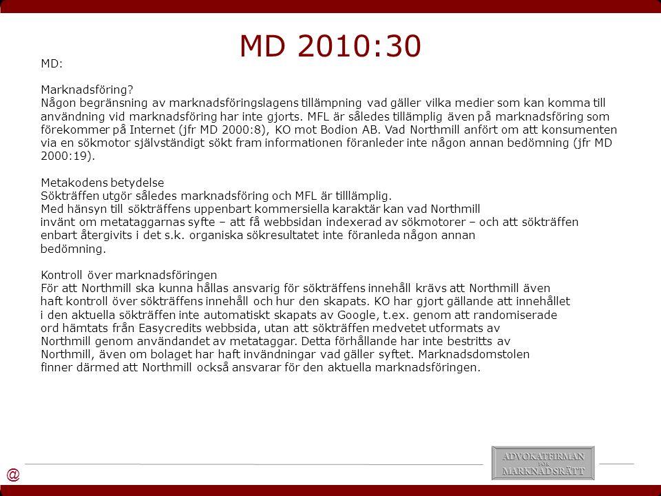 @ MD: Marknadsföring.