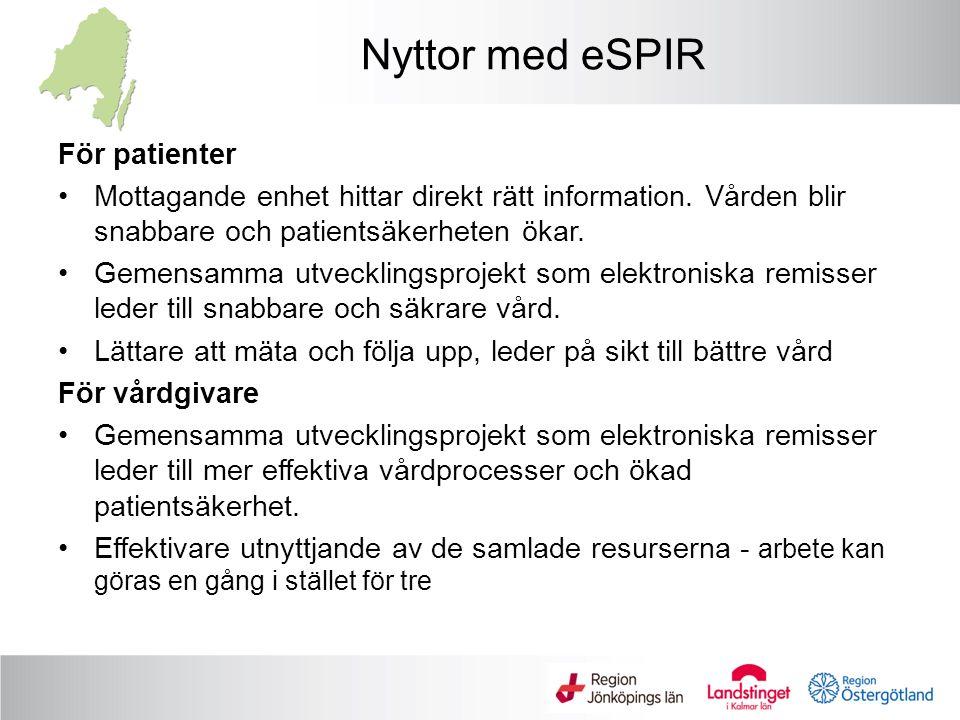 Nyttor med eSPIR För patienter Mottagande enhet hittar direkt rätt information.