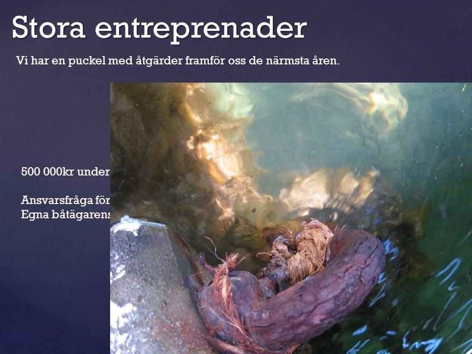 Stora entreprenader Vi har en puckel med åtgärder framför oss de närmsta åren. 500 000kr under vatten arbete i år, 1.6 miljoner kr förra året. Ansvars