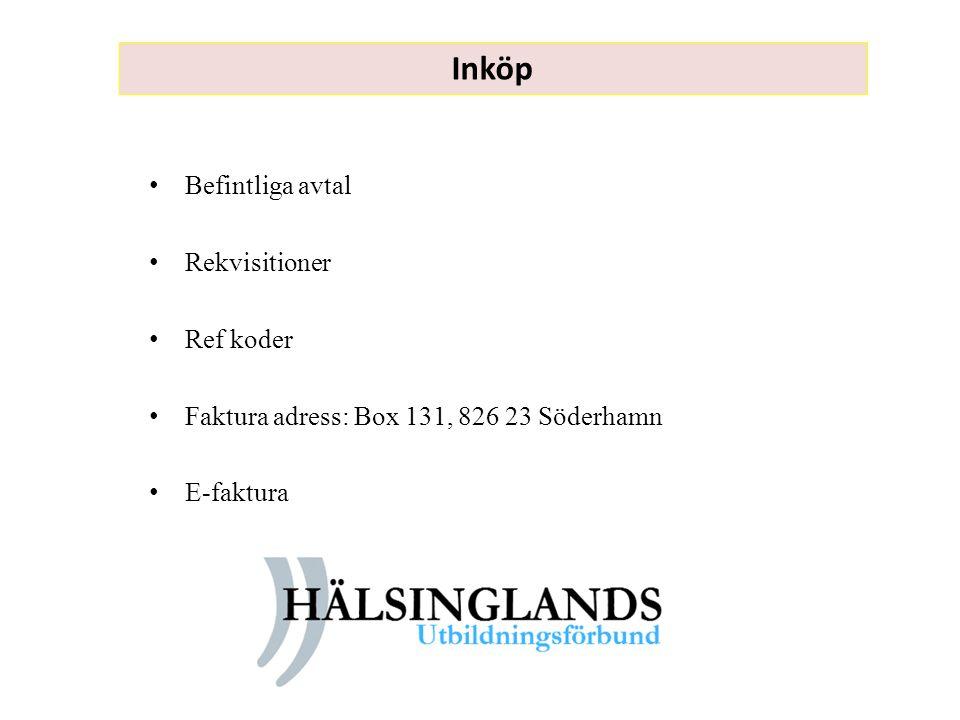 Inköp Befintliga avtal Rekvisitioner Ref koder Faktura adress: Box 131, 826 23 Söderhamn E-faktura