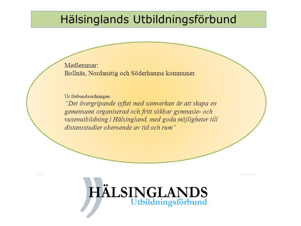 """Hälsinglands Utbildningsförbund Medlemmar: Bollnäs, Nordanstig och Söderhamns kommuner. Ur förbundsordningen: """"Det övergripande syftet med samverkan ä"""